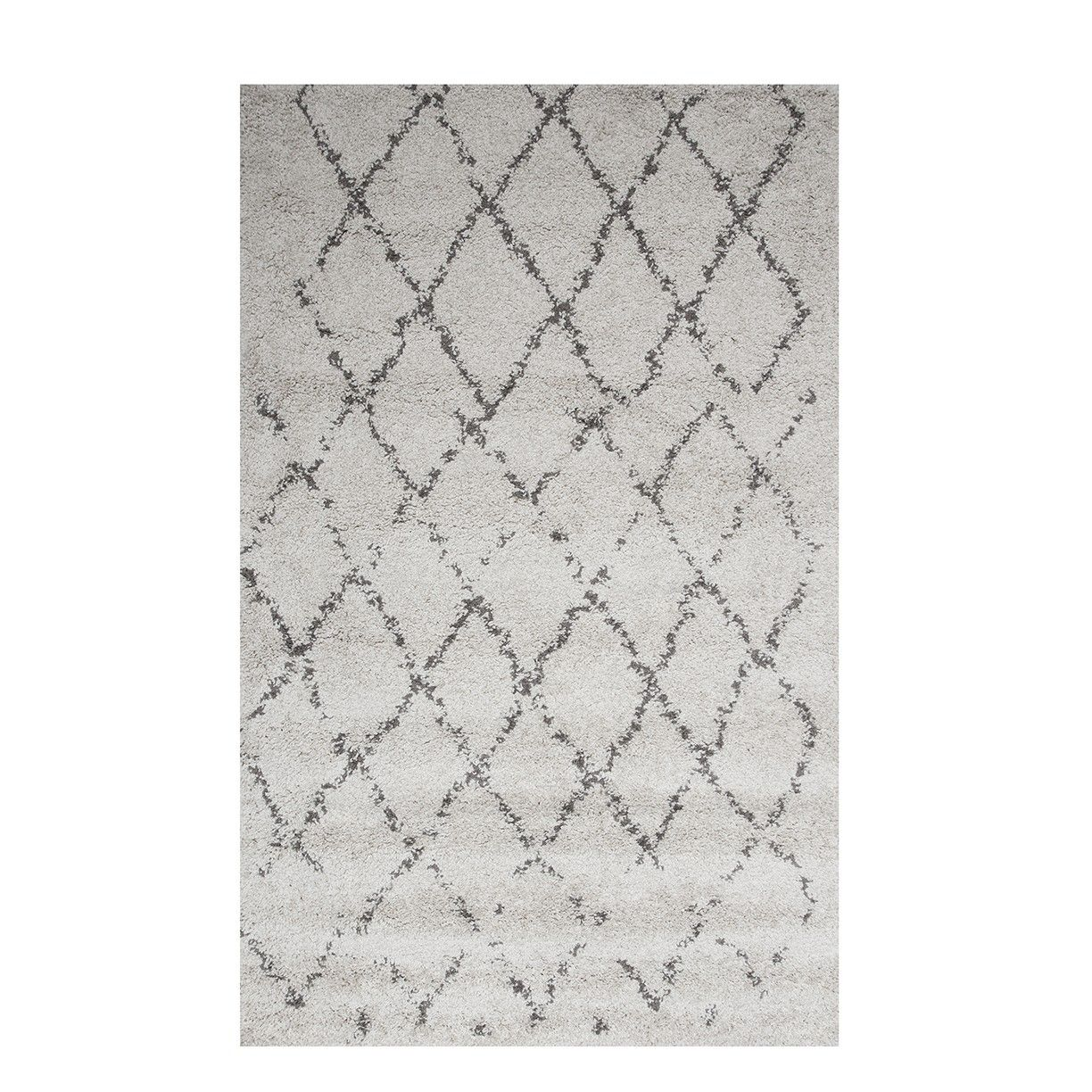 Large Trellis Cream Shaggy Rug Moroccan | The Rug House | Wool ...