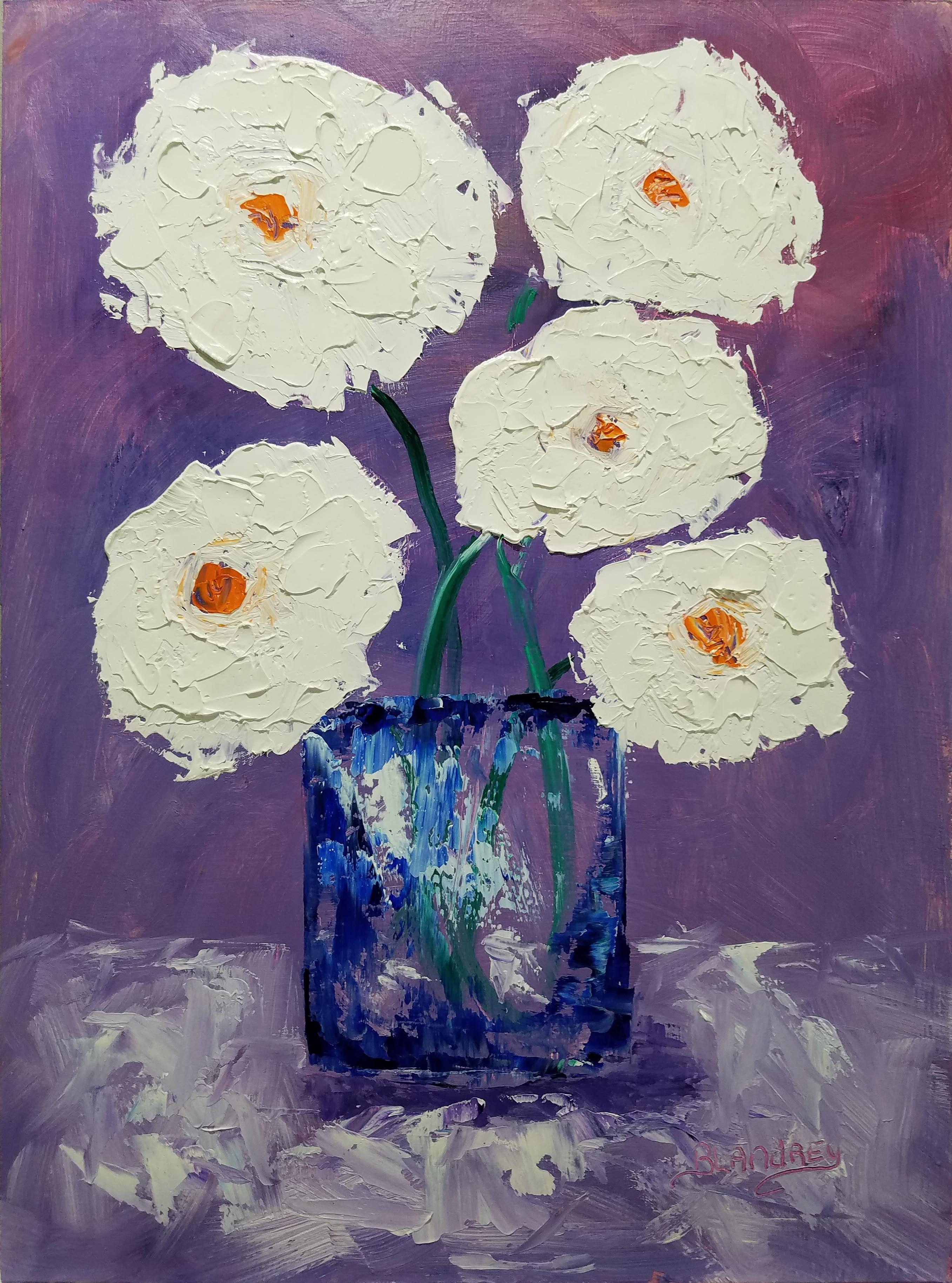 Benitalandreyfineart On Etsy White Flowers Blue Vase Oil Painting