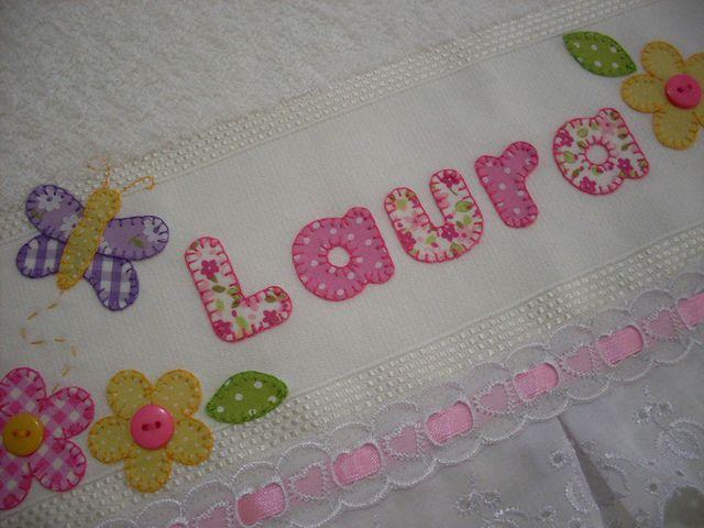 Detalhes toallas apliques y bordado for Apliques para toallas