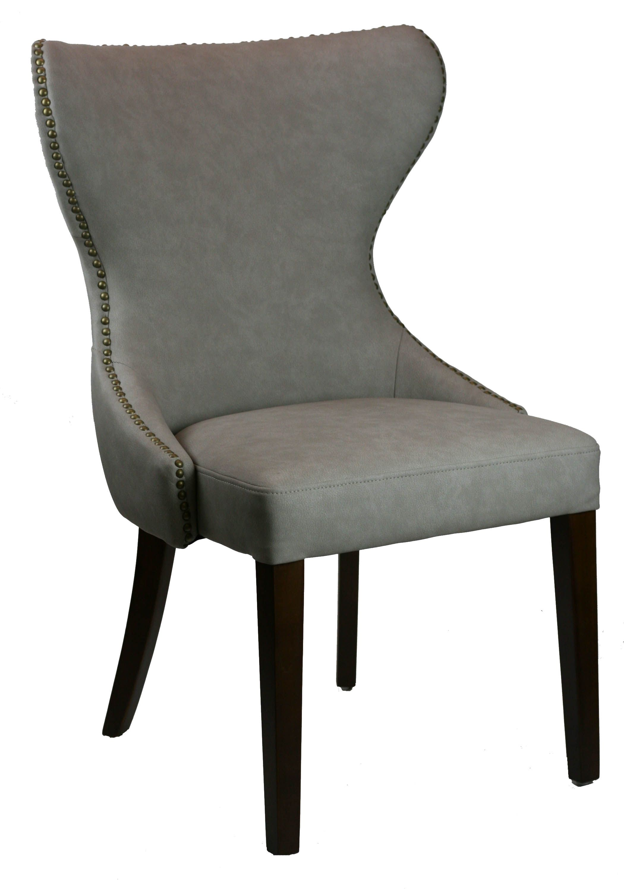 R 1232 Tufted Back Leather Dining Chair In Light Grey W Antique