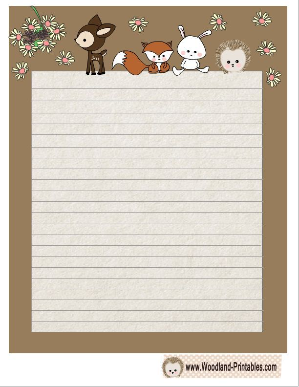 Free Printable Cute Woodland Animals Writing Paper Printable - notebook paper download