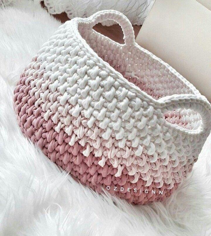 Pin de Janet Harris Abreu en Crochet   Pinterest   Trapillo, Cesto y ...