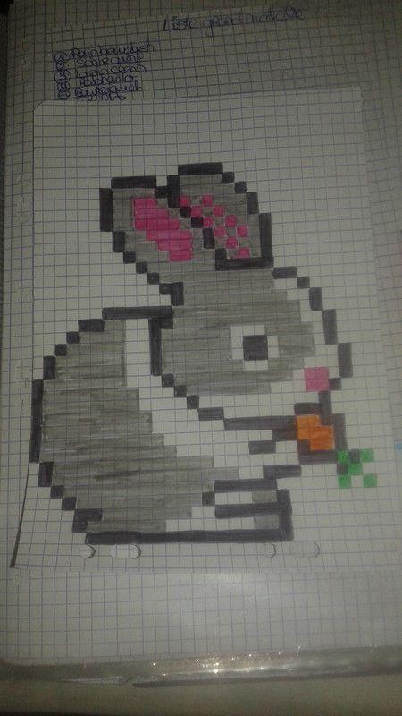 lapin carotte pixel drawing art perle pixel color graph paper art pixel