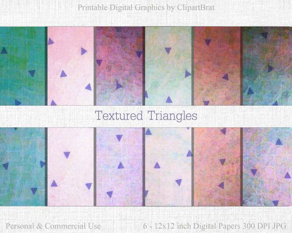 WATERCOLOR TRIANGLE Digital Paper Commercial Use by ClipArtBrat