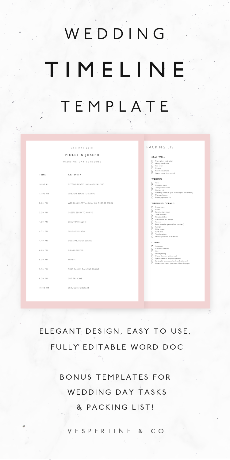 Wedding Timeline Template · Bridal Wedding Day Schedule, Packing ...