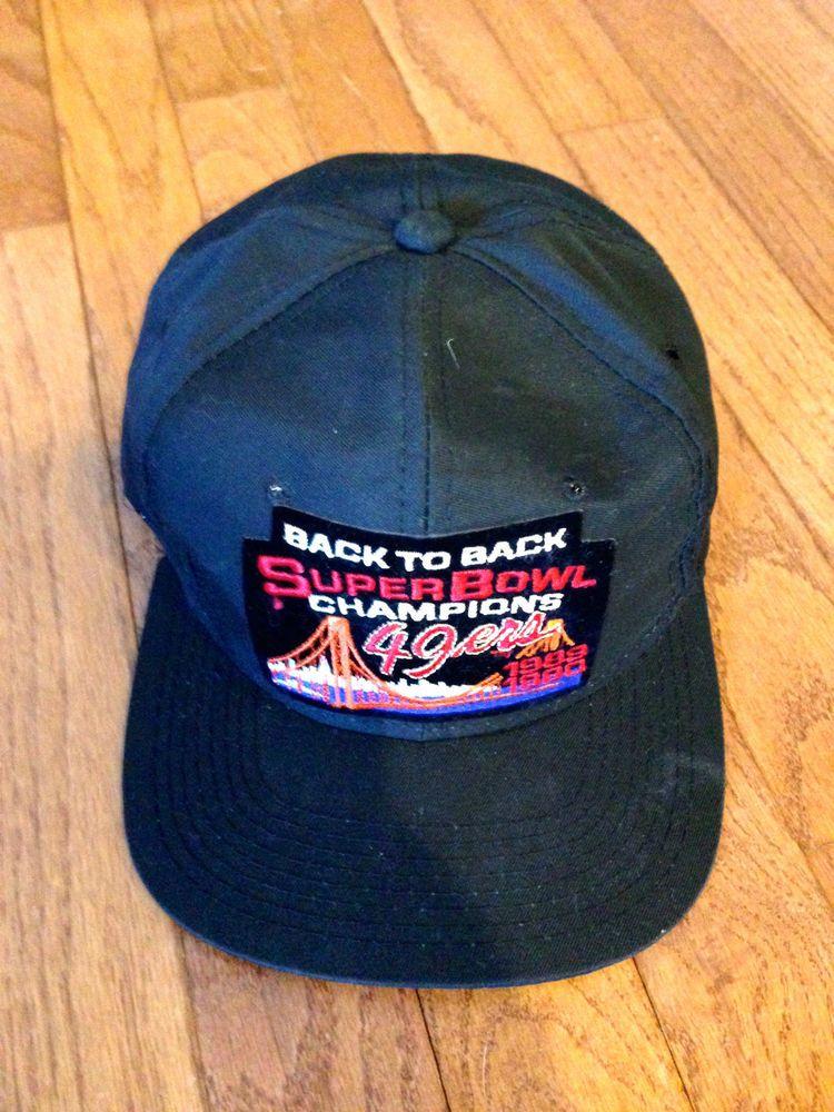 de9a05e86c5a13 SUPER BOWL 1989 1990 SF San Francisco 49ers BACK to BACK Champions Ball Cap  Hat