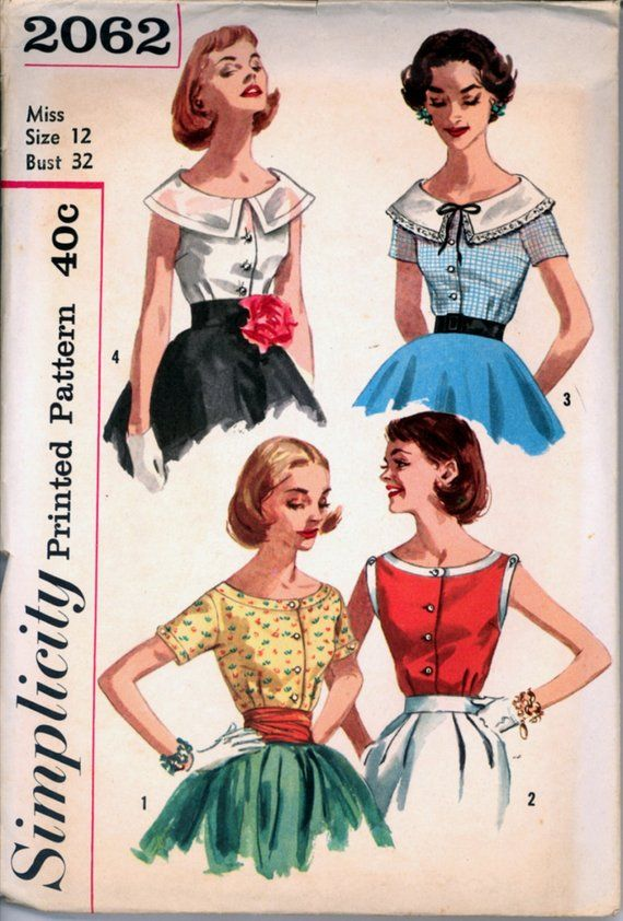 7f1f63d8b65ade 1950s Size 12 Bust 32 Scoop Neckline Blouse Simplicity 2062 Vintage Sewing  Pattern Rockabilly 50s