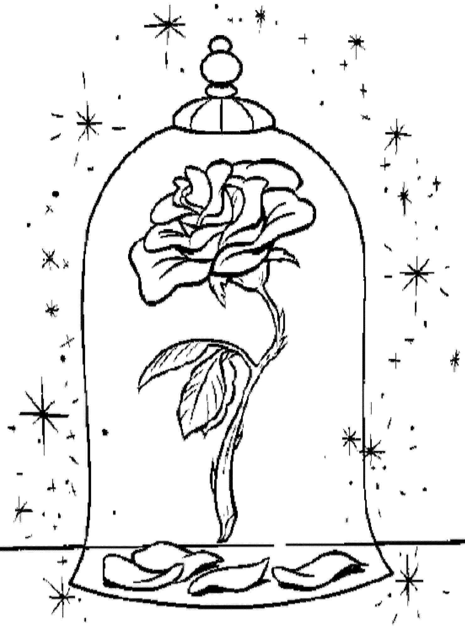 Enchanted Rose In Beauty And The Beast Rose Coloring Pages