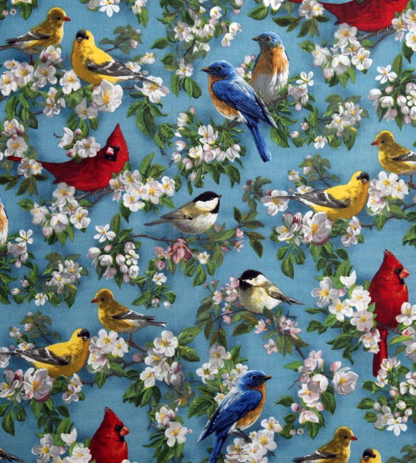 pattern fabric bird Vintage