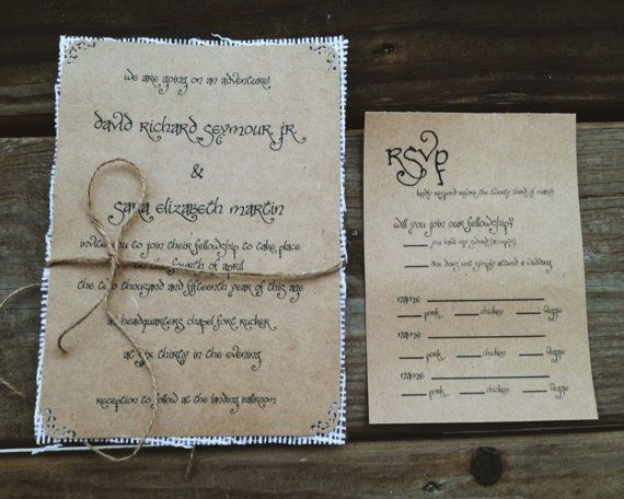 Lord Of The Rings Wedding Invitations With Ivory Burlap Lovely