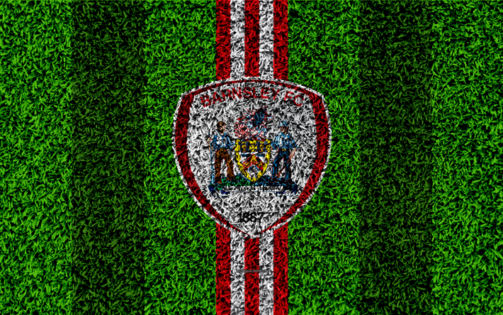 Download Wallpapers Barnsley FC, 4k, Football Lawn, Logo