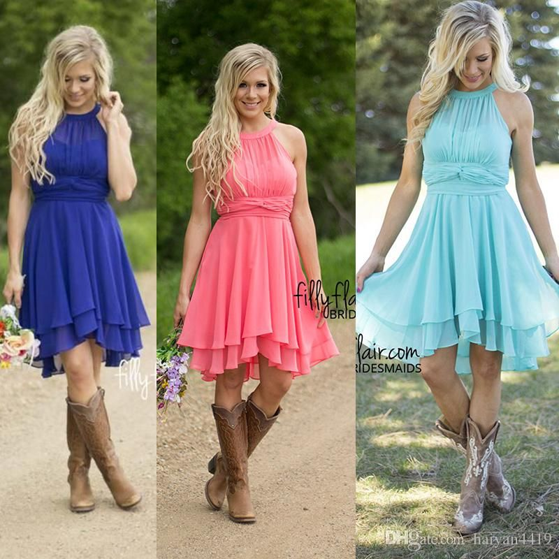 2016 cheap country turquoise bridesmaid dresses crew neck for Country dresses for wedding guest