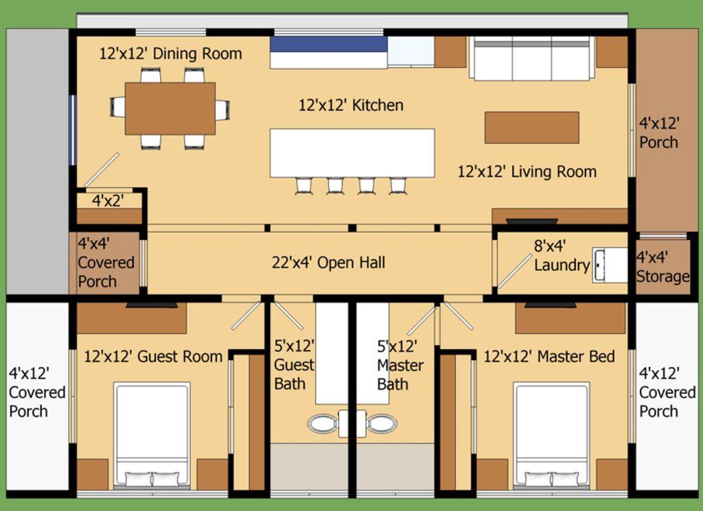 Modern style house plan 2 beds 2 baths 960 sq ft plan for Construcciones de casas modernas