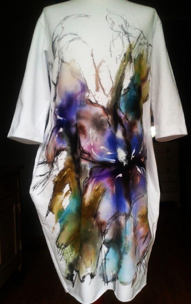 Recznie Malowana Sukienka Tubaakwarela Kwiaty T Shirt Painting Mens Graphic Tshirt Mens Tops