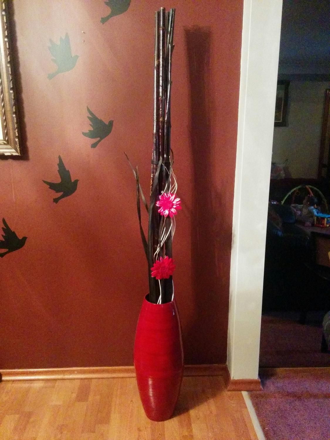 Tall Red bamboo floor vase w/bamboo and flowers Floor