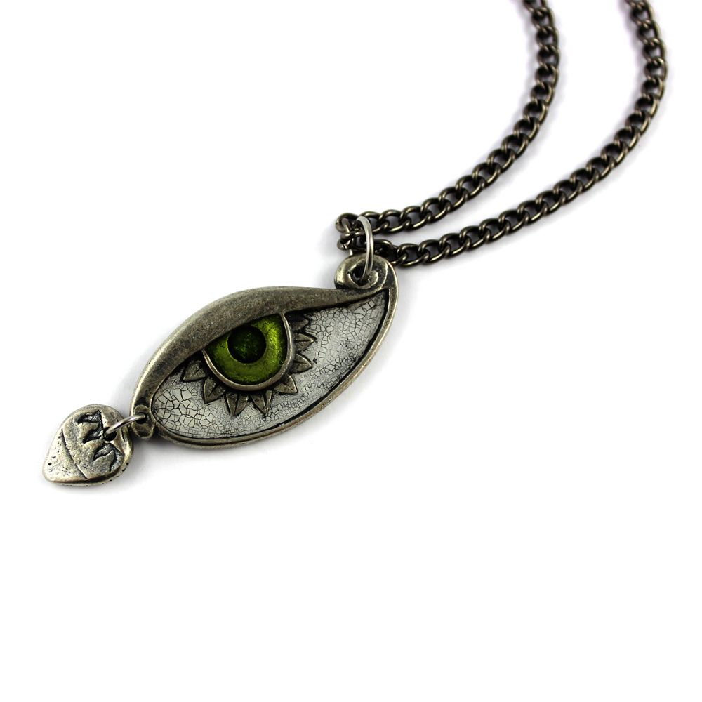 Eye Of The Beholder Pendant Necklace. Silver Plated Pewter With Antique  Finish. Hand