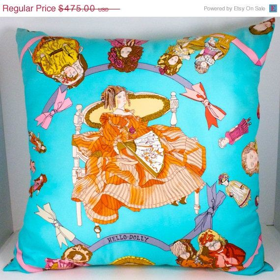 SALE Hermes Pillow Hello Dolly handmade in Paris by WarrenExchange, $380.00