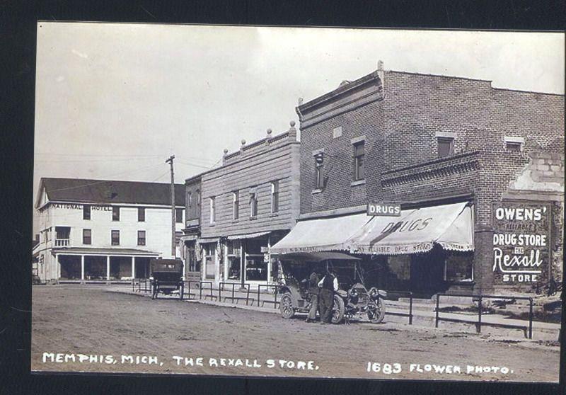 Real Photo Memphis Michigan Downtown Main Street Drug Store