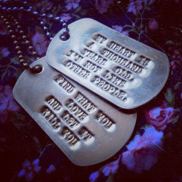"Bukowski quote dog tags set. ""My heart is a thousand years ..."