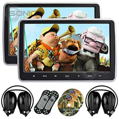 2 x Sonic Audio  HR10C  Universal 101 TabletStyle ClipOn Headrest DVD PlayerScreen with USBSDHDMI and 2 x Wireless Infrared Headphones  PlugandPlay RearSeat Entertainment System >>> Be sure to check out this awesome product.