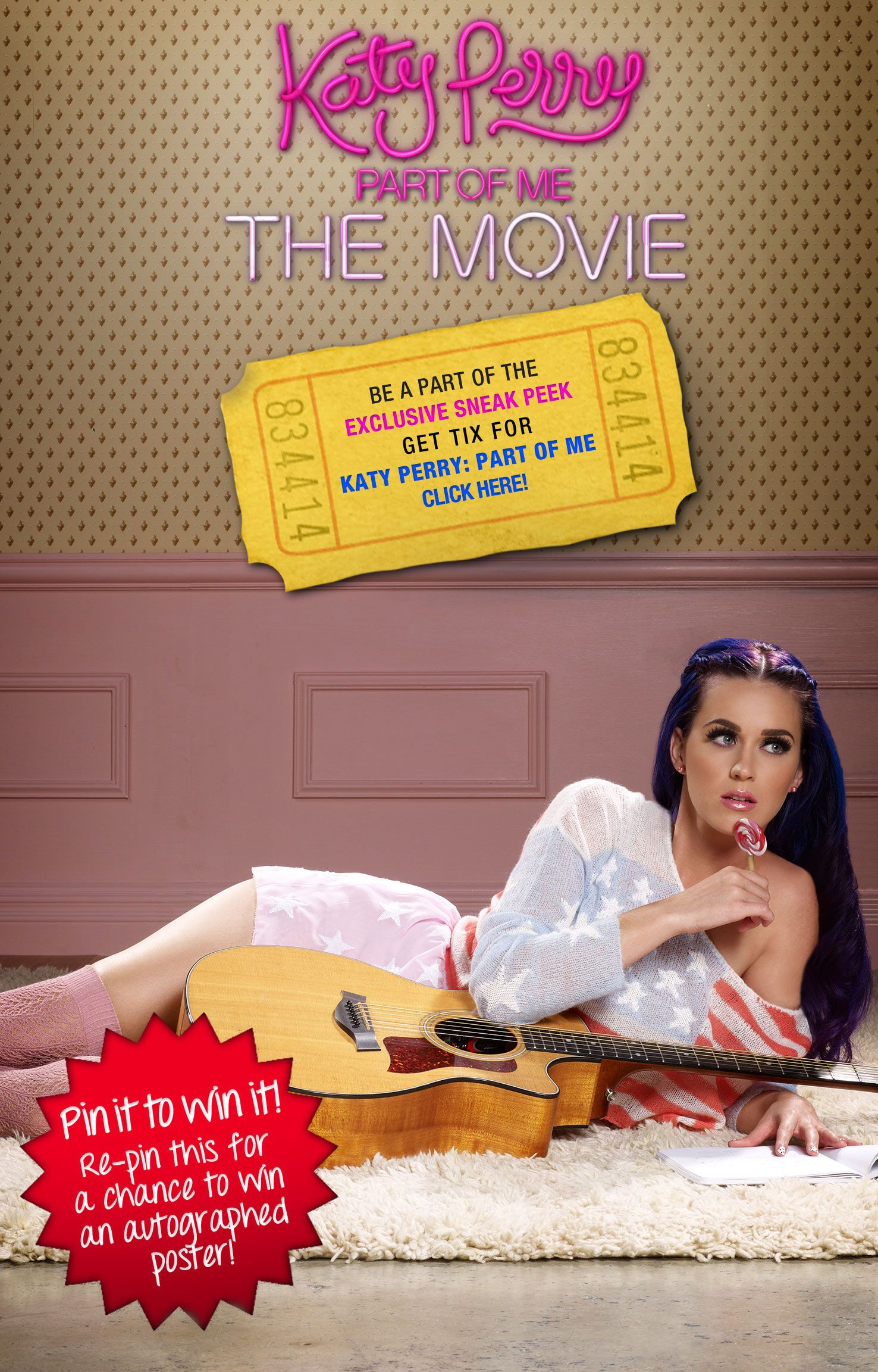Katy Perry Part of Me 3D: Repin this image for a chance to win an exclusive Katy Perry 3D signed movie poster! www.KatyPerryPartofMe.com/sneaks