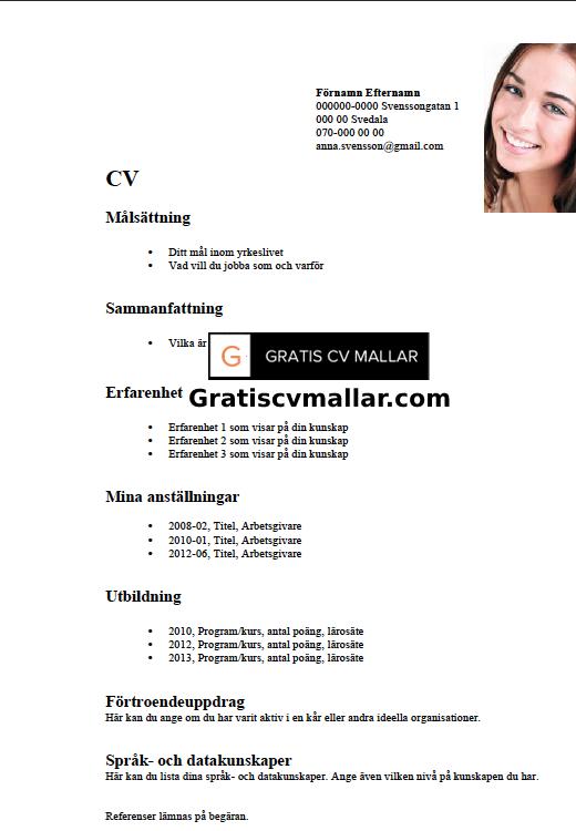 Cv Exempel Cv Exempel Pa Svenska Cv Exempel Word Format Vi Publicerar Cv Exempel For Dig Tips For Att Forbereda Ett Imponerand Cv Mall Ord Personligt Brev