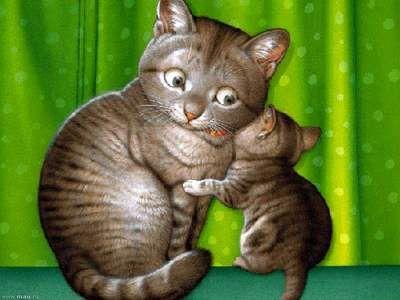 Кошка и котенок | Кошачий рисунок, Котята, Кошачьи картины