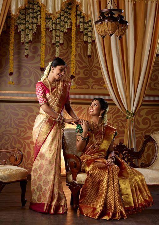 Gold South Indian Wedding Saree