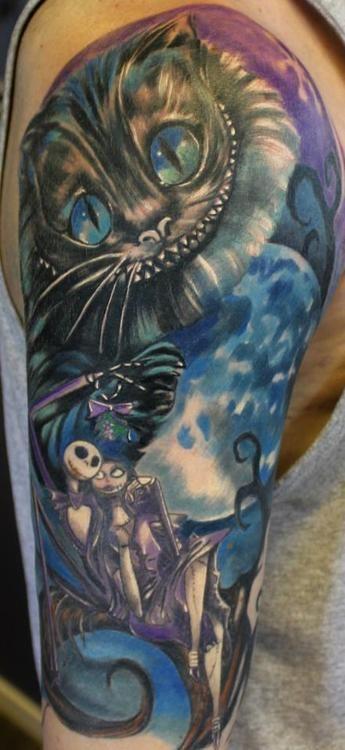 tatouage le chat d'alice aux pays des merveilles et l'étrange noël