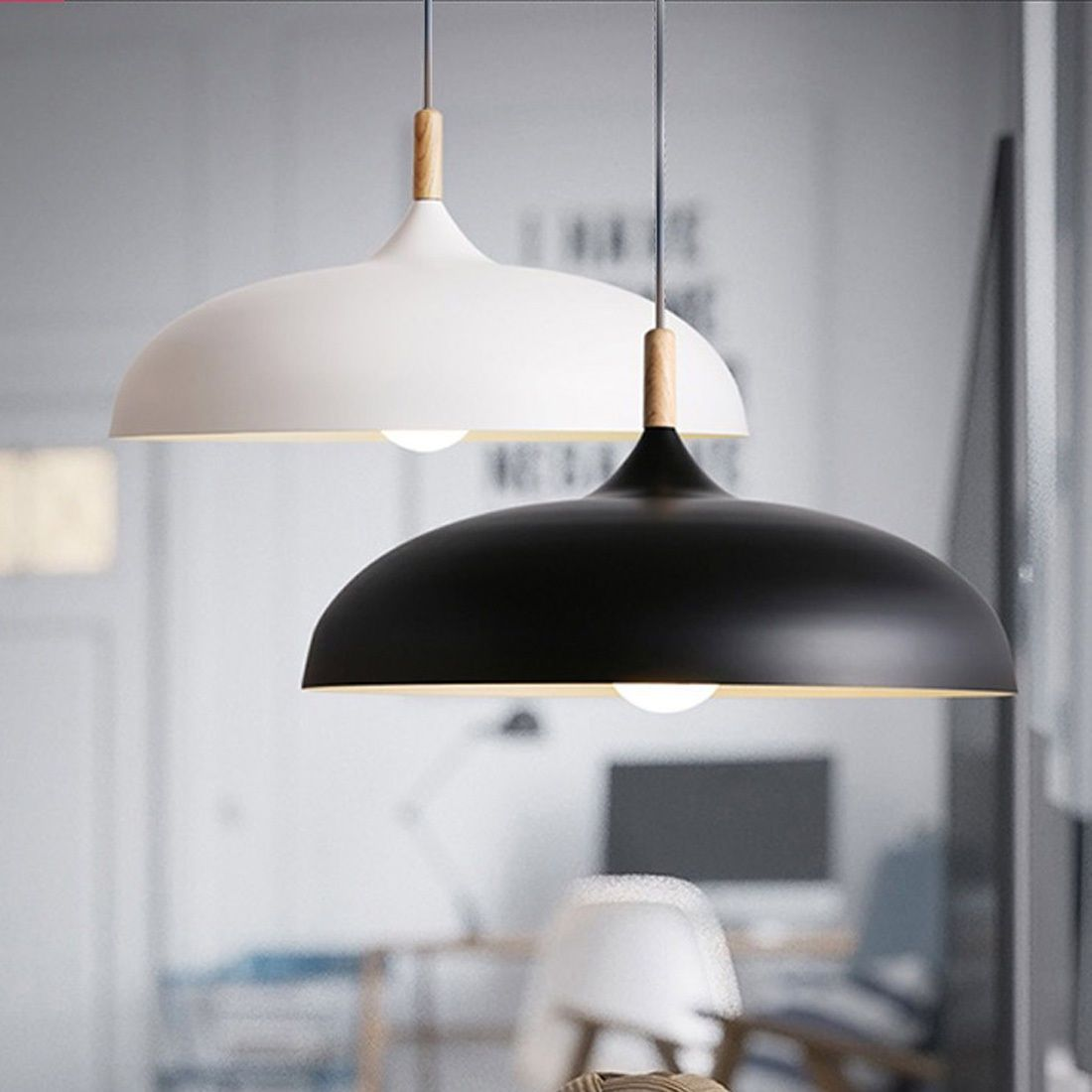 Nordic Style Wood Metal Modern Home Cafe Ceiling Light Pendant