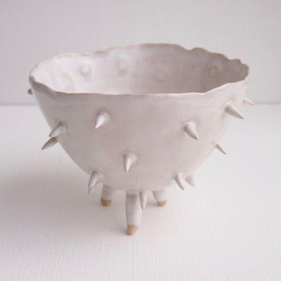 Jardinera cactus espigados cerámica blanca grande por Kabinshop