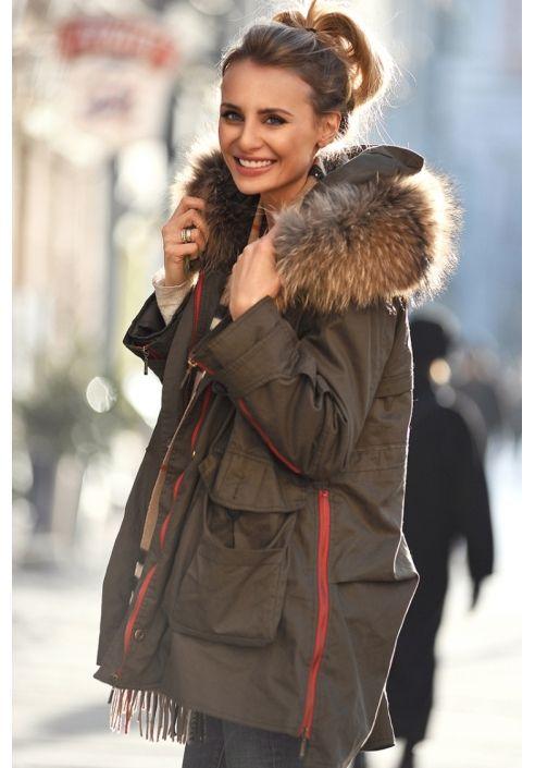 Kurtka Parka Futro Naturalne Jenot Mannei Siwiec Fashion Parka Clothes