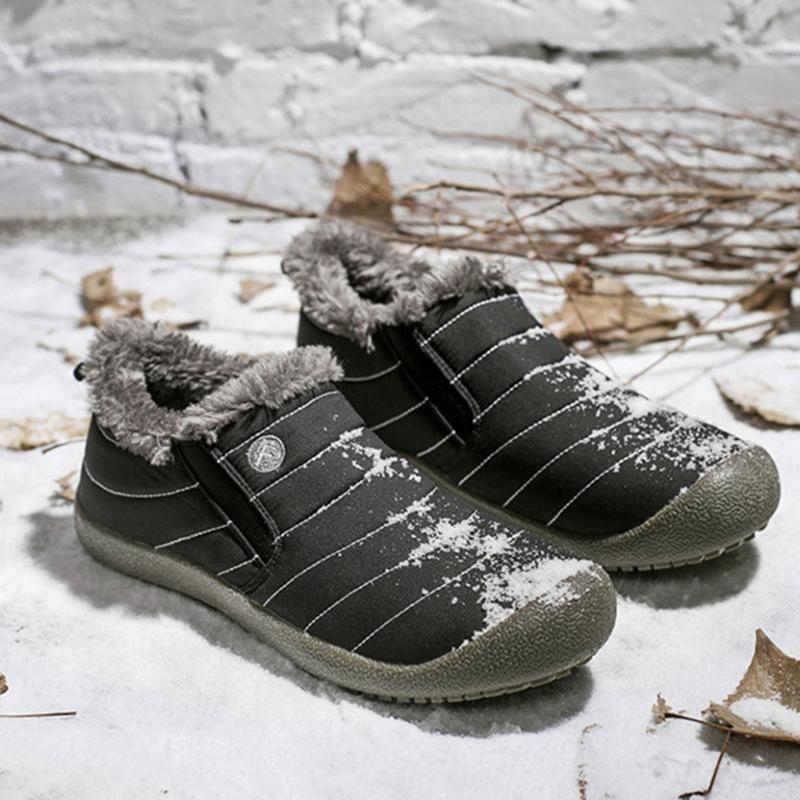5df5f481db10 Large Size Unisex Waterproof Fur Lining Slip On Snow Boots – Mollyca ...