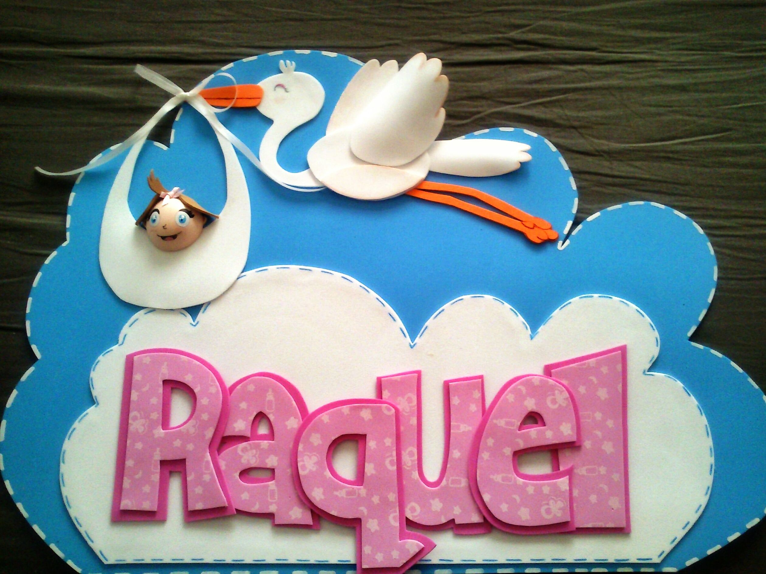 Nombre decorativo con Cigüeña y bebé / Goma EVA / Craft Foam , A ...