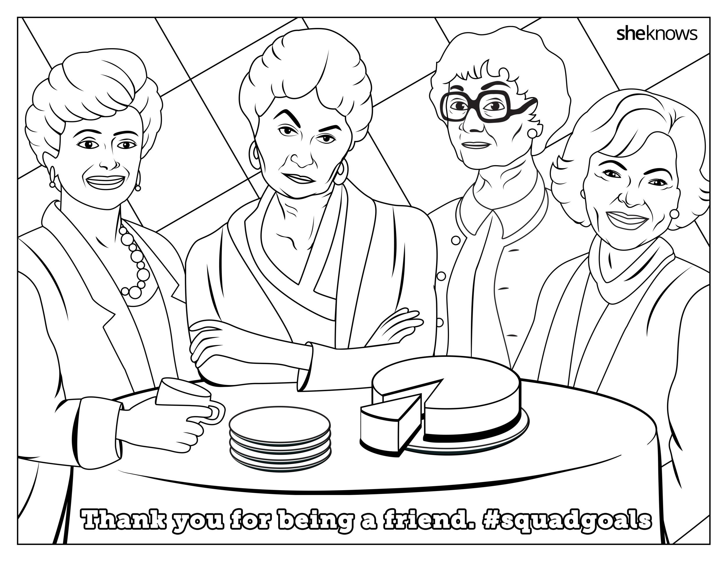 This Golden Girls Printable Coloring Page Is Everything With