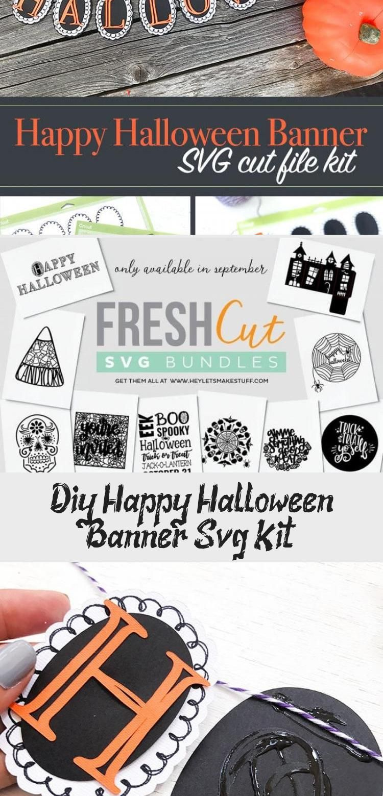 DIY Happy Halloween Banner SVG Kit - 100 Directions #bannerTattoo #bannerLetters #Namebanner #bannerLetras #Photobanner #happyhalloweenschriftzug