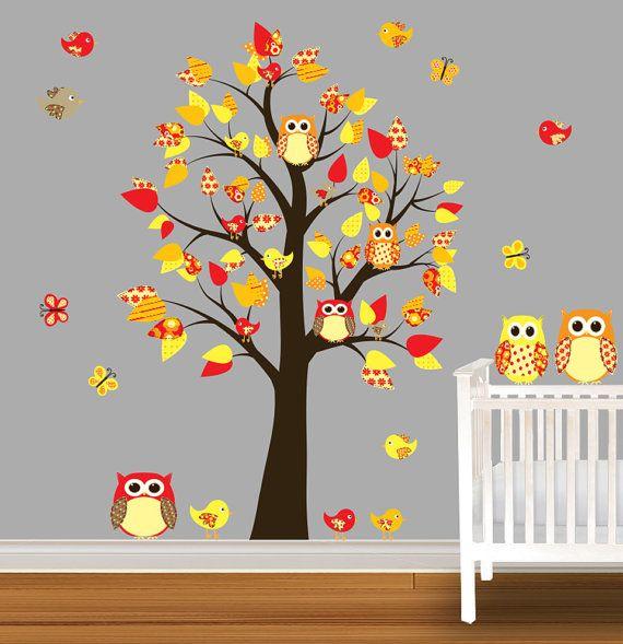 children wall decal owl nursery vinyl wall stickers unisex bright