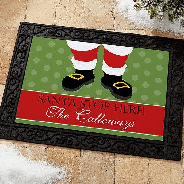 Personalized Christmas Santa Doormat Santa Stop Here