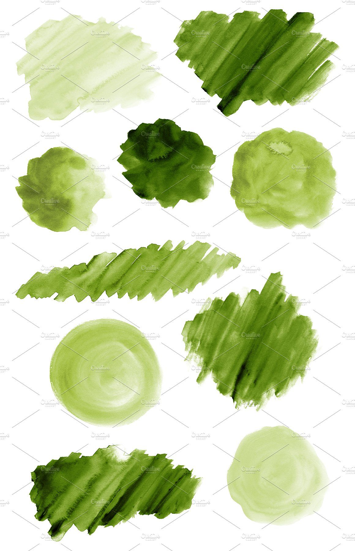 50 Green Watercolor Shapes Green Watercolor Watercolour Texture