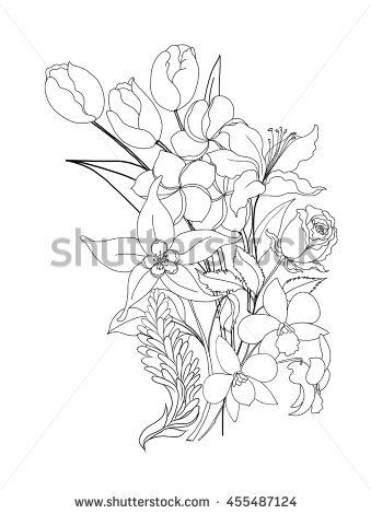hand drawn tropical flower collection isolated on white background ...