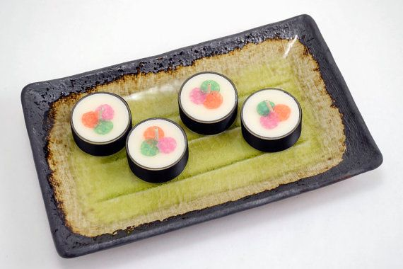 Candle Decoration Faux Food Sushi Tea Light Candles Plate Decor Tealight Anese 4 Pc Set