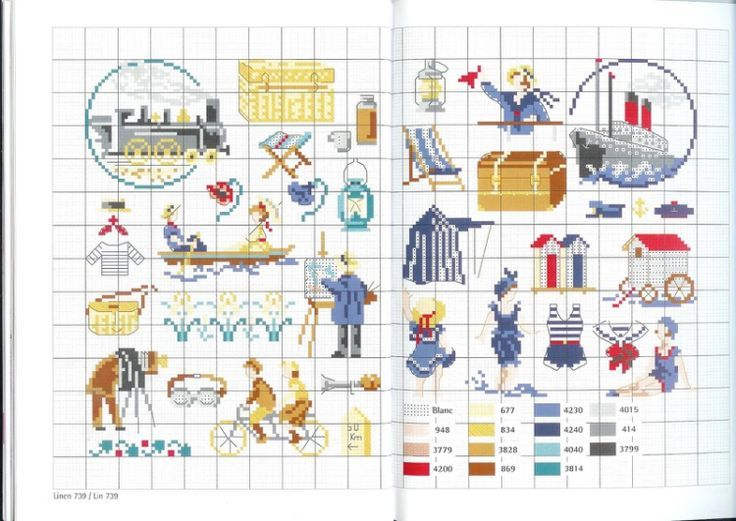 0 point de croix grille et couleurs de fils vacances d 39 autrefois au bord de la mer mini cross - Grille point de croix mer ...