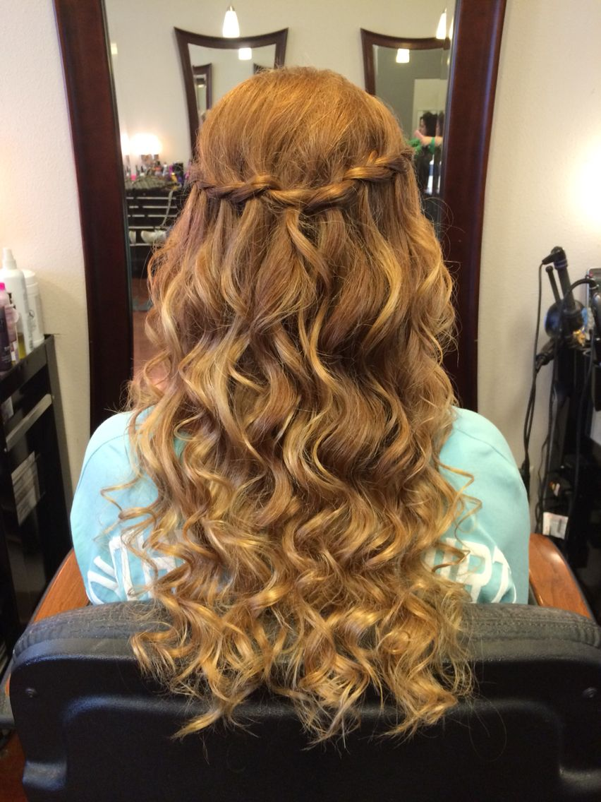 Half Up Half Down Waterfall Braid Curled | Homecoming In 2019
