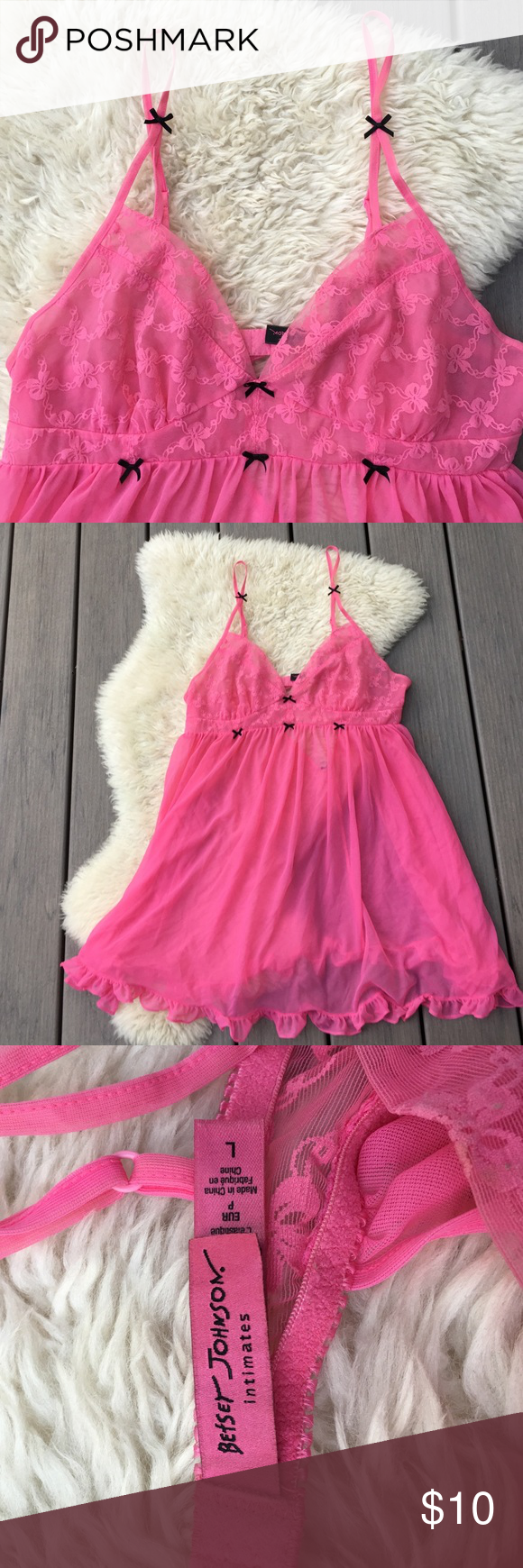 🎀 Betsey Johnson sexy camisole 🎀 This is the ultimate cute and sexy camisole/ nightie thingie. It's shear and hot pink and has cute bows! Betsey Johnson Intimates & Sleepwear