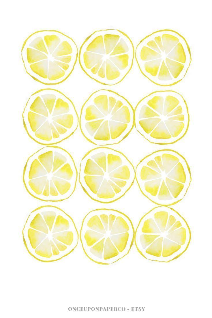Lemon printable wall art for kitchen. Digital prints high quality ...