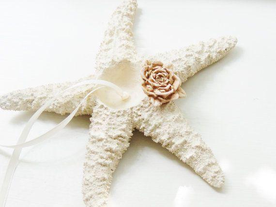 Starfish Ring Bearer Ring Pillow Beach Wedding Ring Holder Pillow