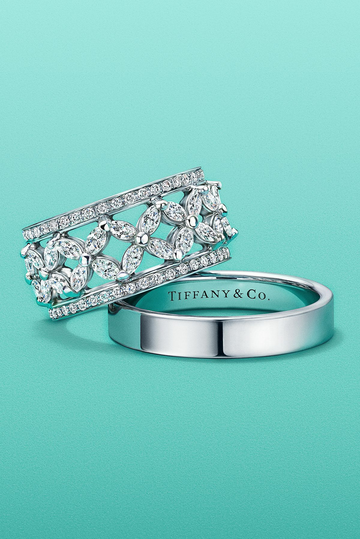 Tiffany Victoria® band ring in platinum with diamonds and