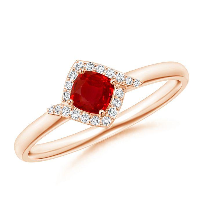 Angara Diamond Halo Cushion-Cut Ruby Ring in Rose Gold 33SPgdt0