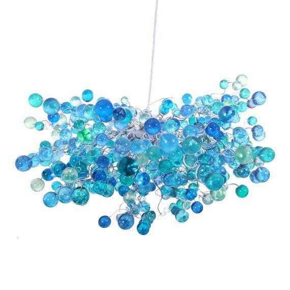 Cobalt Blue Hanging Chandeliers Light Fixture With Blue Bubbles
