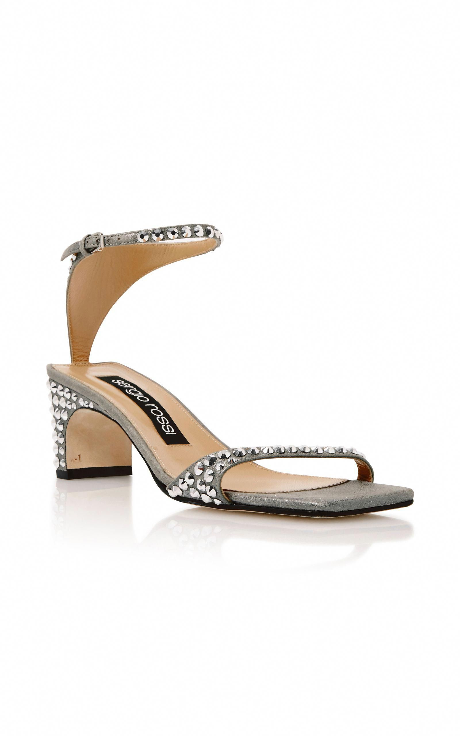 91a344882c842 SERGIO ROSSI Silver Suede Jeweled Sandals.  sergiorossi  shoes  sandals
